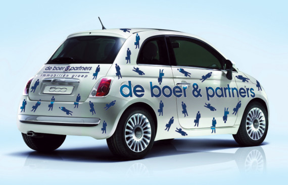 fiat 500 de boer en partners immobilien auto belettering door marathon advertising agency